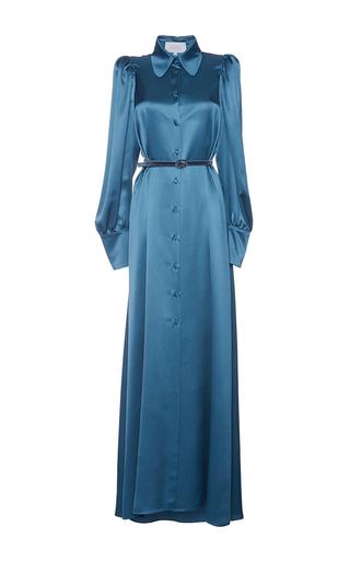 Medium luisa beccaria blue long sleeve maxi shirt dress