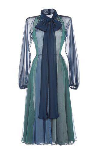 Medium luisa beccaria blue bow tie a line dress