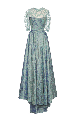 Medium luisa beccaria blue floral embroidered asymmetrical gown