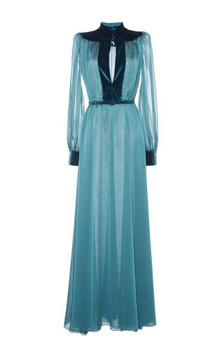 Medium luisa beccaria blue velvet paneled gown