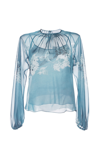 Medium luisa beccaria blue floral long sleeve blouse