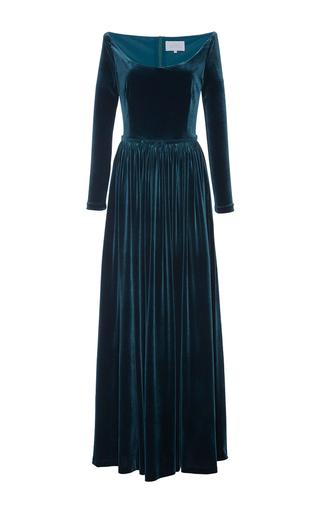 Medium luisa beccaria blue plunging neckline velvet gown