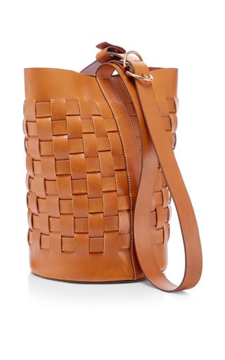 Medium trademark tan woven bucket bag