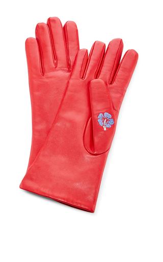 Medium trademark red flowered glove