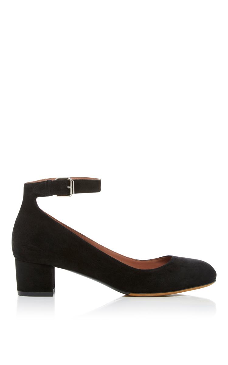 Black Ankle Strap Kitten Heels