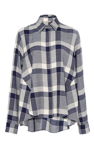 Medium adam lippes stripe plaid trapeze button up shirt