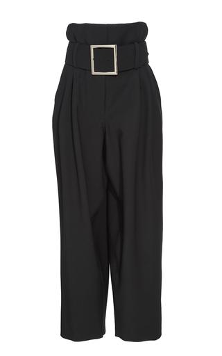Medium adam lippes black black structured wool belted pants