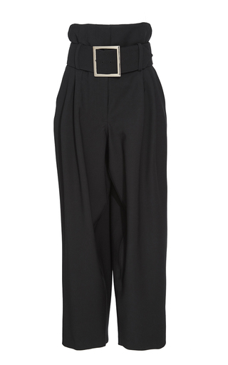 Medium adam lippes black black structured wool belted pants