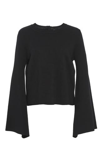 Medium adam lippes black merino wool bell sleeve pullover