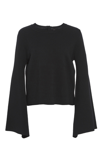 Medium adam lippes black merino wool bell sleeve pullover