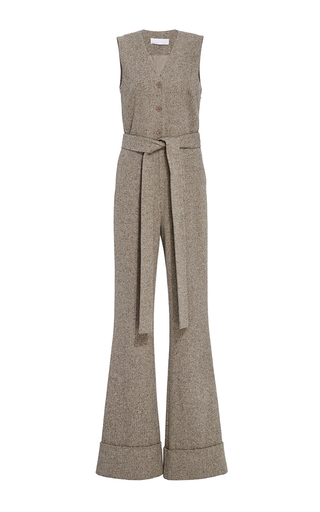 Medium co brown herringbone wool flared jumpsuit