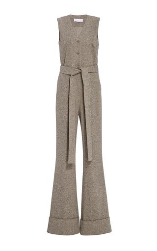 Medium co brown herringbone wool flared jumpsuit
