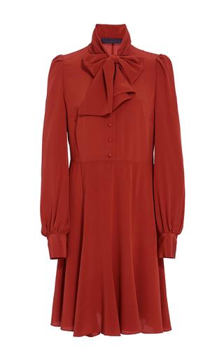 Medium co orange crepe de chine tie collar dress