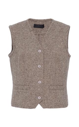 Medium co brown herringbone wool waistcoat