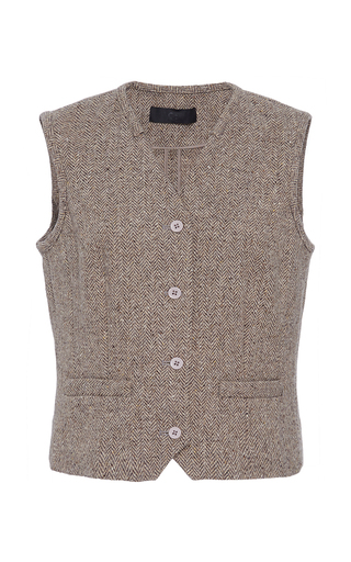 Medium co brown herringbone wool waistcoat