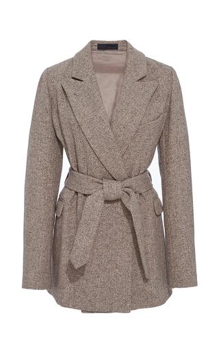 Medium co brown herringbone wool belted jacket
