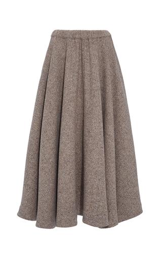 Medium co brown herringbone wool flared midi skirt