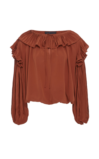 Medium co red pleated ruffle collar blouson top