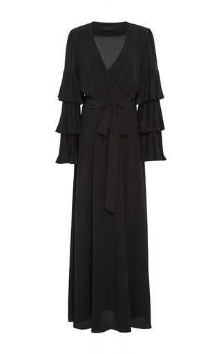 Medium co black crepe de chine tiered sleeve dress