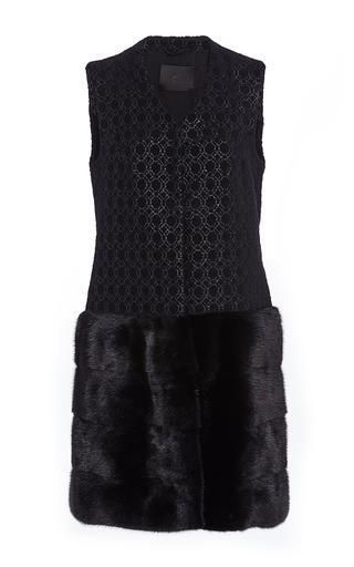 Medium co black metallic brocade vest with mink fur hem