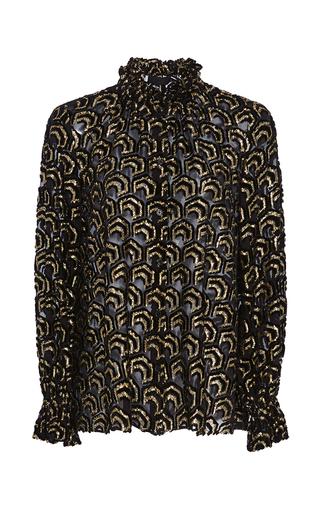 Medium co black velvet lurex gathered neck blouse