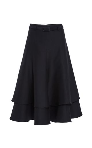 Medium co black wool cotton layered skirt