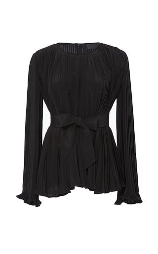 Medium co black pleated crepe de chine belted blouse
