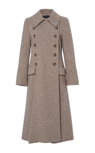 Medium co brown herringbone wool trench coat