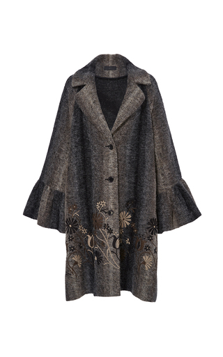 Medium co brown floral embroidered flared cuff coat