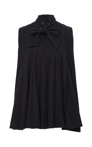 Medium co black tie neck pleated denim blouse