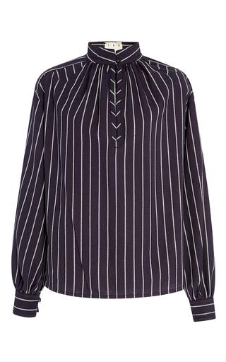 Medium trademark navy hardin stripe cotton shirt