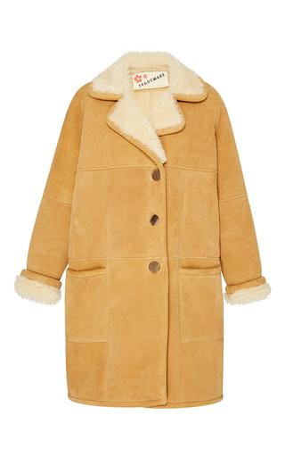 Medium trademark khaki khaki shearling long coat