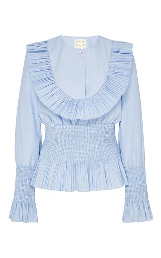 Medium trademark light blue shabini cotton smocked bib shirt