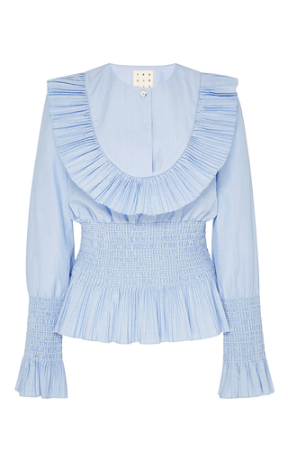Medium trademark light blue shabini cotton smocked bib shirt