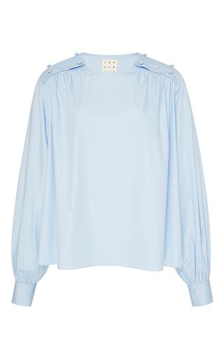 Medium trademark light blue janis poplin shirred blouse