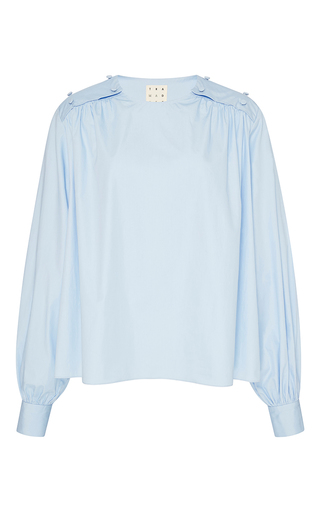 Medium trademark light blue janis poplin shirred blouse
