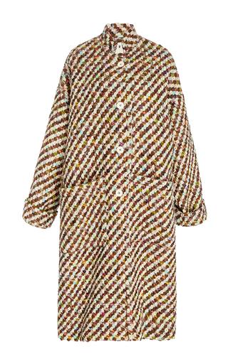 Medium trademark multi axis wool oversized tweed coat