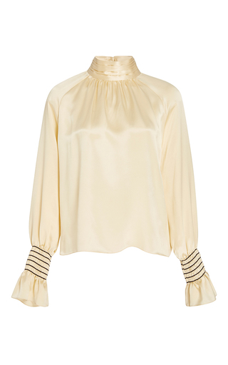 Medium trademark off white smocked charmeuse blouse