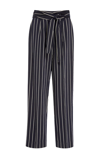 Medium trademark navy dylan stripe tie waist pant