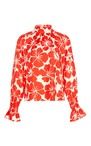 Medium trademark red doors hawaiian smocked silk blouse