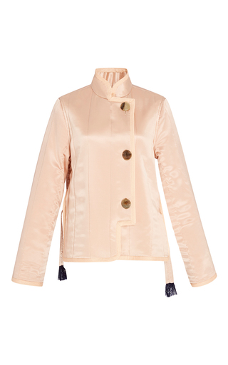 Medium trademark light pink silk charmeuse quilted jacket