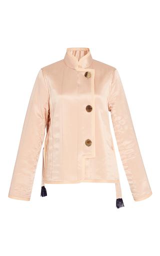 Medium trademark light pink silk charmeuse quilted jacket