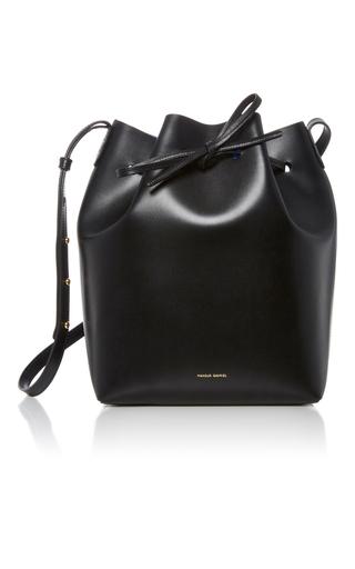 Medium mansur gavriel black black leather bucket bag 2