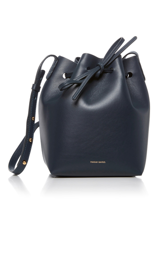 Medium mansur gavriel navy navy blue bucket bag
