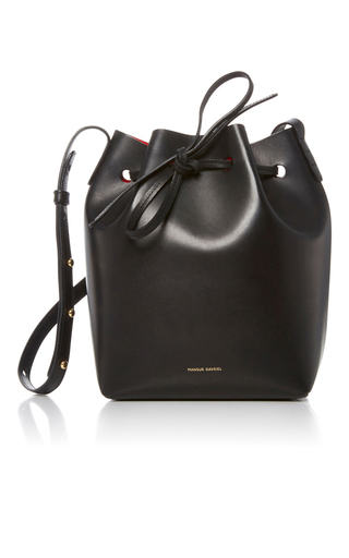Medium mansur gavriel black black leather bucket bag