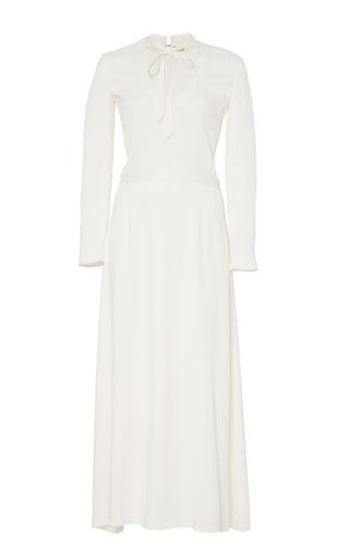 Medium katie ermilio white bow tie scoop neck midi dress