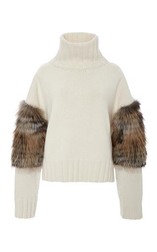 Medium sally lapointe off white cross fox fur trimmed turtleneck sweater
