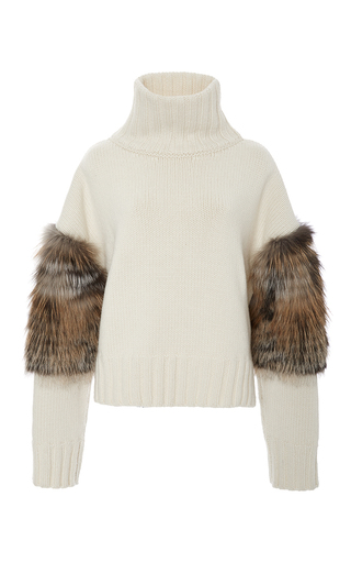 Medium sally lapointe off white cross fox fur trimmed turtleneck sweater