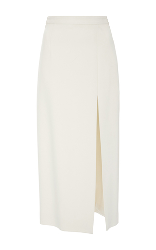 Medium sally lapointe off white bonded crepe high slit pencil skirt