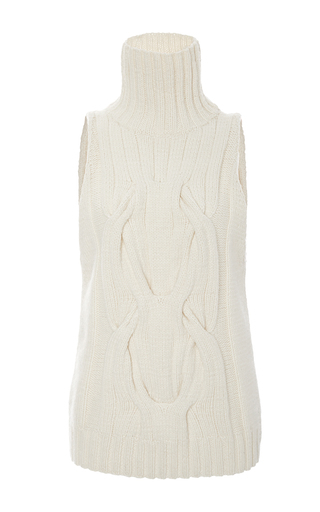 Medium sally lapointe off white cashmere cableknit sleeveless sweater